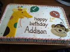 Zoo animal 1st birthday cake done for my friend Melissa's daughter Addison. 3/3/13