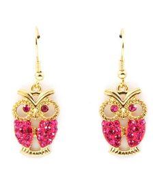 Cute Rhinestone Stud Owl Dangle Earrings - Gold with Pink