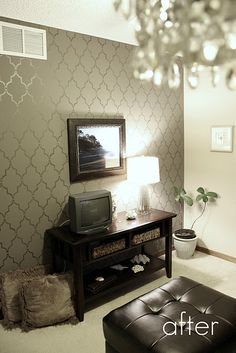 Love the shimmery pattern on the wall (Marrakech Trellis stencil from Cutting Edge Stencils)