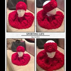 Crochet Capelette/Scarf (Set) Hand crocheted neck cape is made by me, flight attendant by day, crochet diva by night.  Beautiful cowl and can be used as an infinity scarf is a beautiful accent piece to compliment matching headband (sold separately for $6.00).  No trades, machine washable, non smoker.  This design is so pretty and classy.  You can wear this around your neck or off your shoulders.  Will compliment any attire from office to party atmosphere.  Thank you for stopping by. Quality…