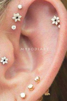 Cute Dainty Minimal Crystal Flower Ear Piercing Earring Fashion Jewelry for Women for Lobe Cartilage Tragus Helix Conch in Gold and Black -  #diamondstudearrings Guys Ear Piercings, Ear Piercing Studs, Barbell Piercing, Piercing Chart, Body Piercings, Helix Jewelry, Ear Jewelry, Jewelery, Tattoos