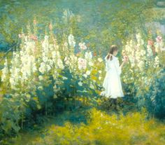MY FAVORITE PAINTING EVER! Girl Among the Hollyhocks by John Hafen