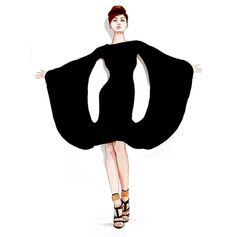 Fashion illustration Black Dress by Tracy Hetzel at Long Blue Straw