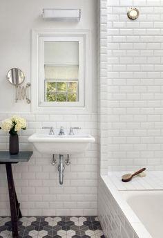 Bathroom: Beautiful White Ceramic Subway Tile Bathroom With Stunning White Bathroom Design Ideas from Beautiful Subway Tile Bathroom Bad Inspiration, Bathroom Inspiration, White Beveled Subway Tile, Subway Tiles, White Tiles, Wall Tiles, Hex Tile, Hexagon Tiles, Mosaic Tiles
