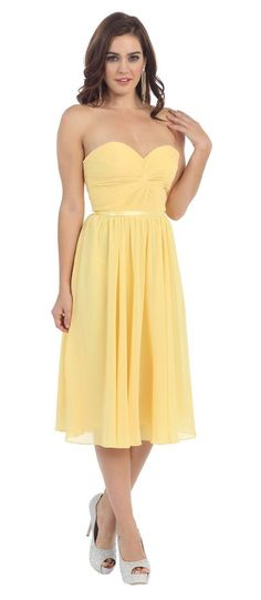 Short Strapless Pleated Plus Size Formal Bridesmaids Dress - The Dress Outlet - 1