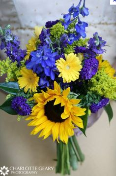 Yellow & cobalt blue bouquet. Charlotte Geary Photography #weddingflowers #bouquet #blue&yellow