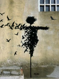 """Esparecepájaros"" Street art in Salamanca, Spain, by Pejac. Photo by Pejac."