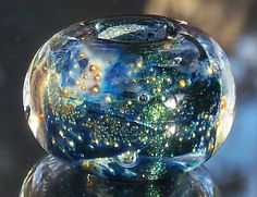 Shimmering Teal Night Skies Handmade Boro Lampwork Glass Bead Focal Fits all LARGE CHAINS