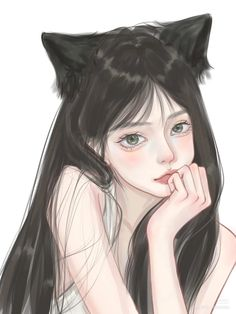 Pretty Anime Girl, Cool Anime Girl, Cute Anime Pics, Cartoon Girl Drawing, Anime Girl Drawings, Girl Cartoon, Digital Art Anime, Digital Art Girl, Anime Monochrome