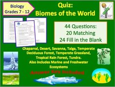 Ecology Quiz: Biomes of the World.  This document can be used as a quiz, as a homework assignment or as test review. The document contains 44 questions. There are 24 fill in the blank questions and 20 matching questions. Answer key is provided.