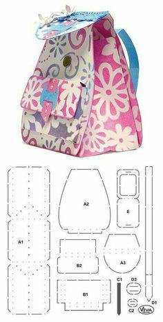 Craft Shop Backpack with its mold to make it yourself Sewing Hacks, Sewing Crafts, Sewing Projects, Paper Purse, Diy Couture, Fabric Bags, Craft Shop, Handmade Bags, Gift Bags