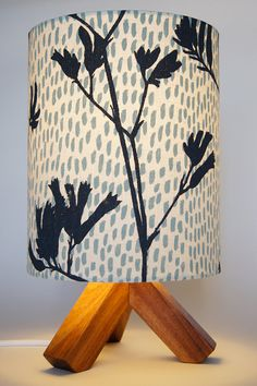 Drum lamp shade 18cm / 7 blue cream Kangaroo Paw by LightOwl