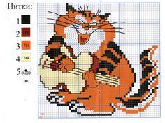 схема для вышивания кот