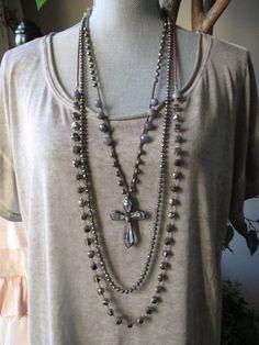 Crystal cross crochet necklace - Shine On - long layering labradorite artisan spiritual holiday boho by slashKnots