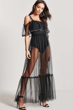 FOREVER 21 Sheer Mesh Grommet Maxi Dress