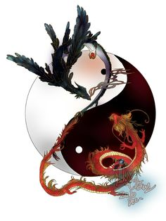 Black Phoenix, Red Dragon, yin yang; Dragons