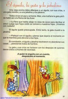 El águila, la gata y la jabalina by Fabulas Animadas - issuu Childhood Memories Quotes, Spanish Lessons For Kids, Elementary Education, Make It Simple, How To Plan, Books, Celine, Learn Spanish, Texts