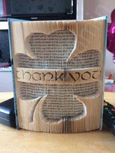 Create your own piece of stunning Book Art with this Shamrock Thank you Cut and Fold Book Folding Pattern. Buy Today !!