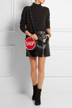 Moschino | Printed leather shoulder bag | NET-A-PORTER.COM