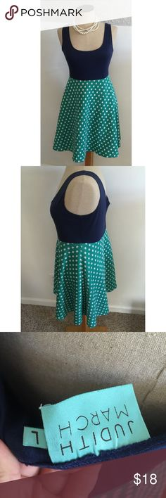 JUDITH MARCH Blue/green polka dot 50's style dress Judith March sz Large, a little rockabilly style Judith March Dresses