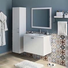50 Fotos de móveis para casa de banho pequena ~ Decoração e Ideias Bathroom Furniture, Double Vanity, Tiles, Mirror, Home Decor, Nature, Bathrooms, Bathroom Colors, Small Bathrooms