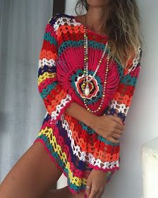 icu ~ Pin on crochet sweater ~ Sexy Crochet Top Crop Blouse Cover Up Summer Beachwear Mandala Granny Squares Hippie Boho Gypsy Carnaby Bohemian Birthday Gifts for her. Pull Crochet, Mode Crochet, Crochet Tunic, Crochet Scarves, Crochet Clothes, Crochet Lace, Crochet Bikini, Crochet Granny, Boho Outfits