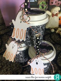DIY Halloween gift by Susan Liles. Reverse Confetti stamp set: Treat Yo' Self. Confetti Cuts: Halloween Bits. RC 6x6 paper pad: Fright Night. RC Ink: Tangerine. Halloween favor.