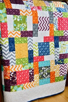 Quilt Scrappy Baby Toddler Simply Color Handmade by PiecesOfPine, $160.00