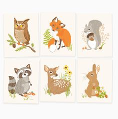 Our woodland set brings woodsy appeal to a forest-themed nursery or playroom. Includes owl, fox, squirrel, raccoon, deer and rabbit.
