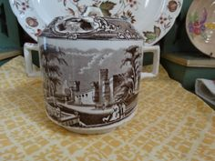 Rare Antique Wedgwood Biscuit Jar in Brown Transferware featuring a Temple with…