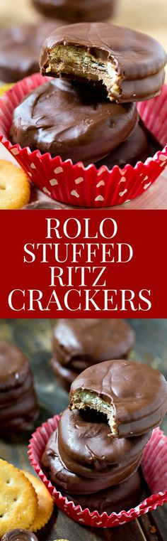 Rolo Stuffed Ritz Crackers covered in chocolate. The best sweet and salty treat!