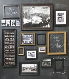 Hanging frames up on top of chalkboard wall.