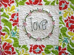 sweet  quilted square with embroidery