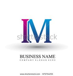initial letter logo IM colored red and blue, Vector logo design template elements for your business or company identity