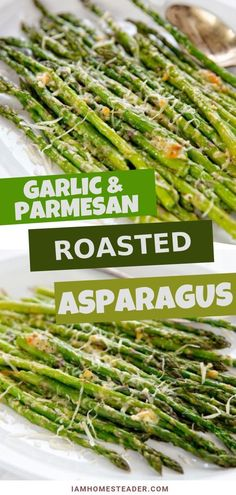 Crispy garlic parmesan roasted asparagus is simple and delicious! This Easy asparagus recipe is a quick side dish that pairs with any savory meal. A great way to add veggie into your regular meal rotation is this oven roasted garlic parmesan aspara Best Asparagus Recipe, Grilled Asparagus Recipes, Oven Roasted Asparagus, How To Cook Asparagus, Meals With Asparagus, Salmon Recipes, Asparagus Spears, Chicken Recipes, Shrimp Recipes