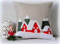 Cuscino Con Paesaggio Invernale Mug Rugs, Advent, Christmas Stockings, Applique, Pace, Throw Pillows, Holiday Decor, Home Decor, Craft