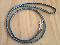 Kangaroo Leather Braided Dog Lead Navy & Sky Blue in by LeadOnDogs, $50.00