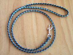 Kangaroo Leather Braided Dog Lead Navy & Sky Blue in by LeadOnDogs, $50.00