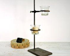 Vintage lab stand turned candle holder (or vase).  Love upcycled labware!!!!