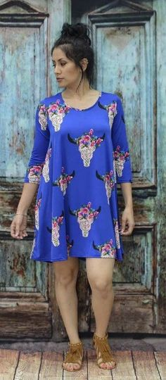 Royal Blue Dress with Cow Skull Print http://www.rhinestonegal.com/catalog.php?item=3244