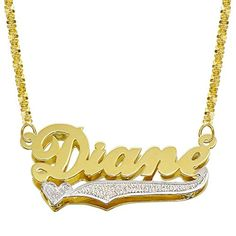 Style 2 14K Two Tone Gold Personalized Double Plate 3D Name Necklace