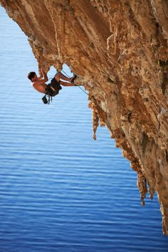 Rock climbing overlooking the Aegean sea