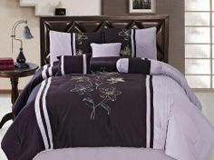 "7 Pcs Embroidery Flower Comforter Set Bed In A Bag King Purple/Lavender by Jaba. $59.99. 2 Pcs Pillow Shams (20"" x 36""). 1 Pc Square Cushion. 1 Pc Bedskirt (78"" x 80"" + 14"" Drop). 1 Pc King Size Comforter (100"" x 86""). 1 Pc Breakfast Pillow, 1 Pc Neckroll. 7 Pcs Luxury Comforter Set  This is a very attractive comforter set.  This comforter set will give your room a new look!      Style#: 20611     Condition: Brand New     Size: King     Design: Flower     Color:..."