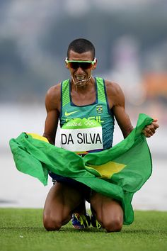 Solonei da Silva of Brazil reacts as he crosses the line during the Men's…