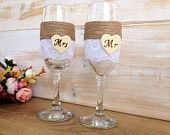 Rustic Glasses Wedding Champagne Glasses Toasting Bride Groom Shabby Chic Decoration Lace glasses