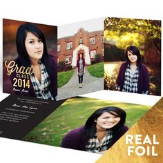 Graduation Announcements -- Favorite Photos Gold Foil Trifold | Pear Tree Greetings