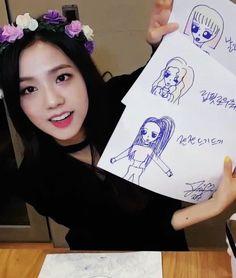 Jisoo drawing her group members as...|| JUST BLACKPINK JISOO