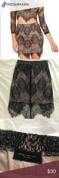 Akira black and cream lace skirt size S Akira black and cream lace skirt! Size small AKIRA Skirts Mini