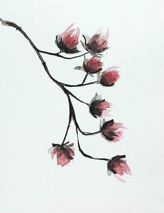 FLOWER Original Ink art drawing on acid free by SimpleArtStudio, €40.00