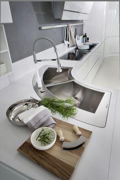 Adaptive Design, European Kitchens, Kitchen Modular, Corner Sink, Interior Design Kitchen, Sinks, Furnitures, Cool Kitchens, Flow